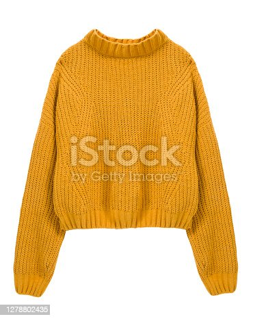 Sweater yellow color isolated on white.Trendy women's clothing.Autumn fashion.Knitted apparel.
