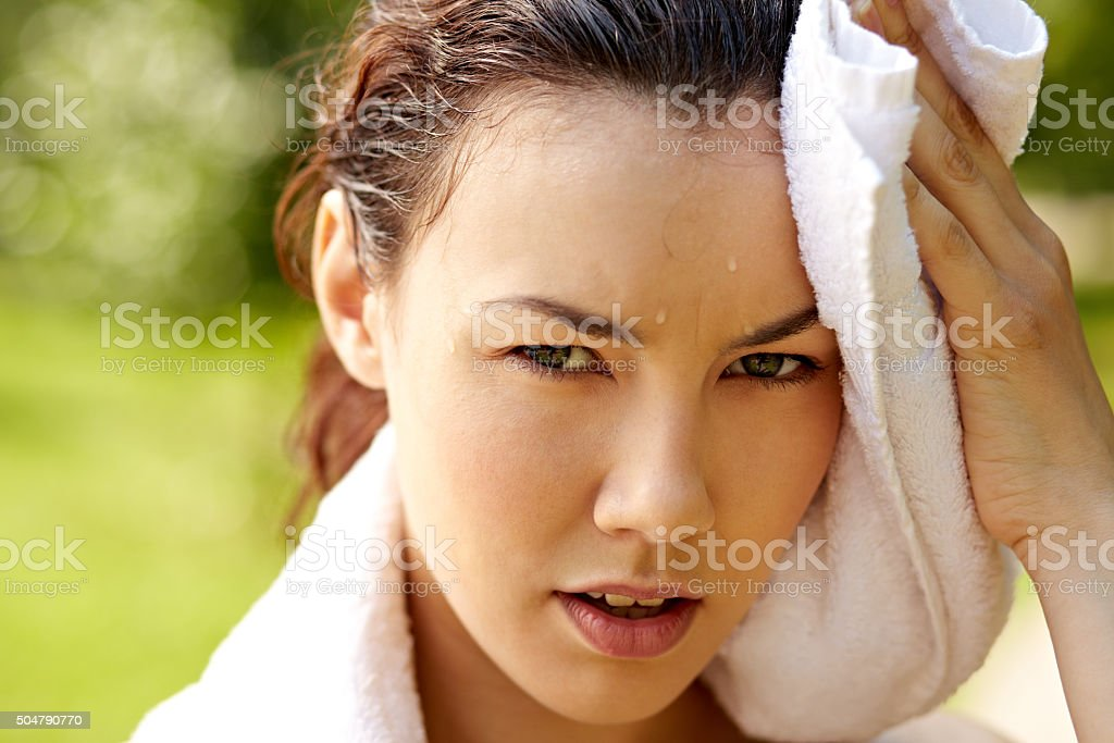 Sweating girl stock photo