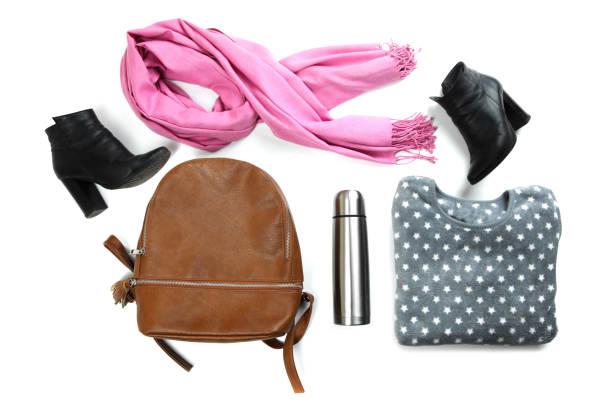 sweatshirt, rucksack, thermoskanne und thermoskanne - schal mit sternen stock-fotos und bilder