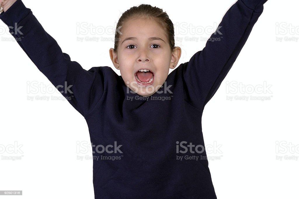 Sweatshirt raised arms royalty-free stock photo