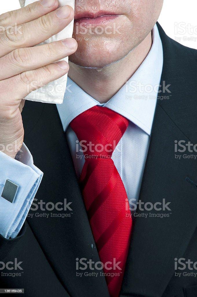 Sweaty Businessman Wiping Face stock photo