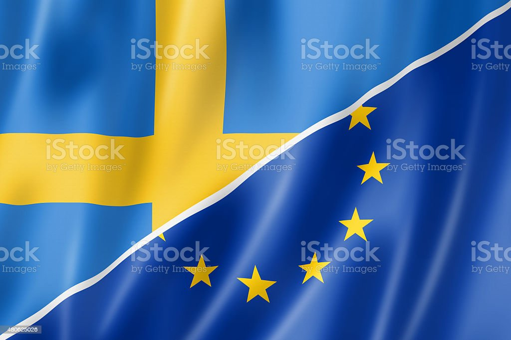 Sweden and Europe flag stock photo