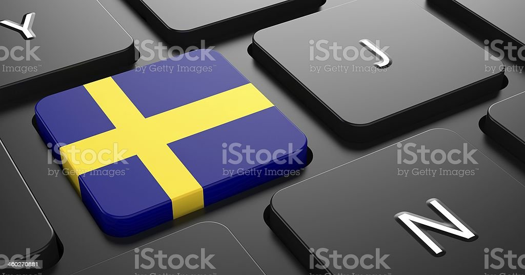 Sweden - Flag on Button of Black Keyboard. stock photo