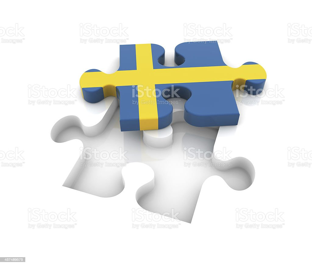 Sweden Flag on Puzzle royalty-free stock photo