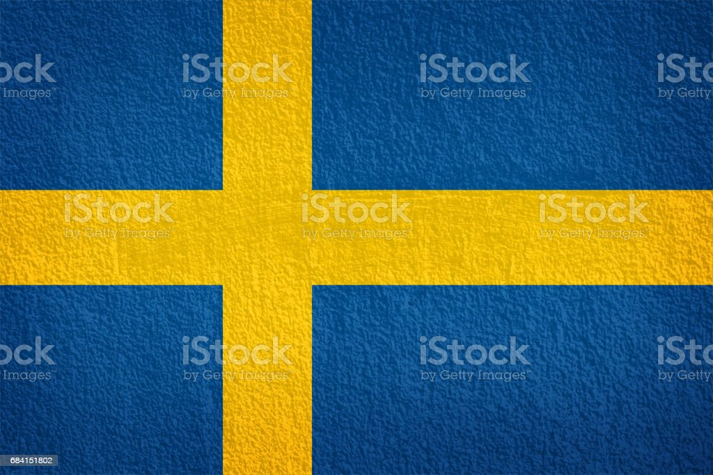 sweden Flag on the old wall texture photo libre de droits