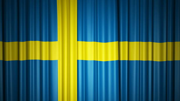Schweden fliegt Seidenvorhang auf der Bühne. 3D-Illustration – Foto