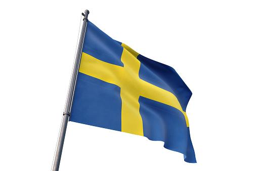 Sweden national flag waving isolated white background