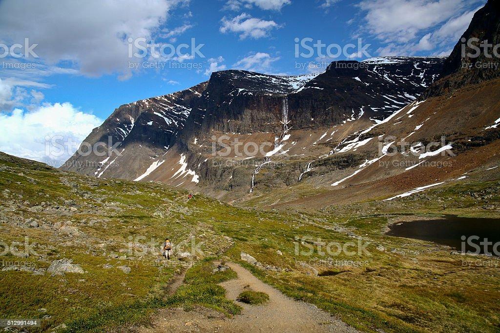 sweden kebnekaise trail wth people walking stock photo