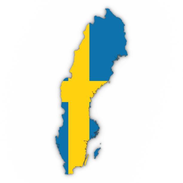 Suécia mapa contorno com bandeira sueca no branco com sombras 3D ilustração - foto de acervo