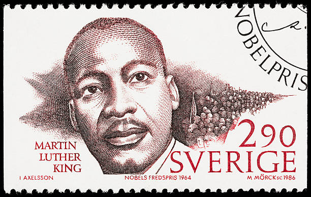 "Sweden Martin Luther King Jr postage stamp ""Sacramento, California, USA - October 14, 2012: A 1986 Sweden postage stamp with an image of Nobel Peace Prize recipient Martin Luther King, Jr (1929-1968)."" mlk stock pictures, royalty-free photos & images"