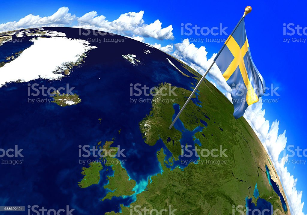 Sweden national flag marking the country location on world map stock photo