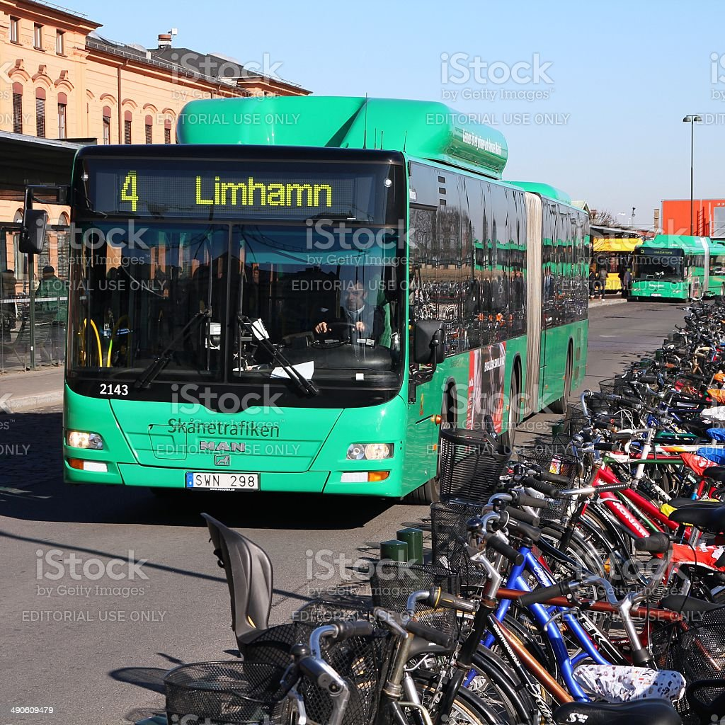 Driver drives MAN bus next to bicycles on March 8, 2011 in Malmo,...