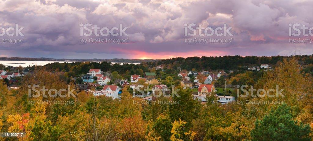 Sweden small village sunset stock photo