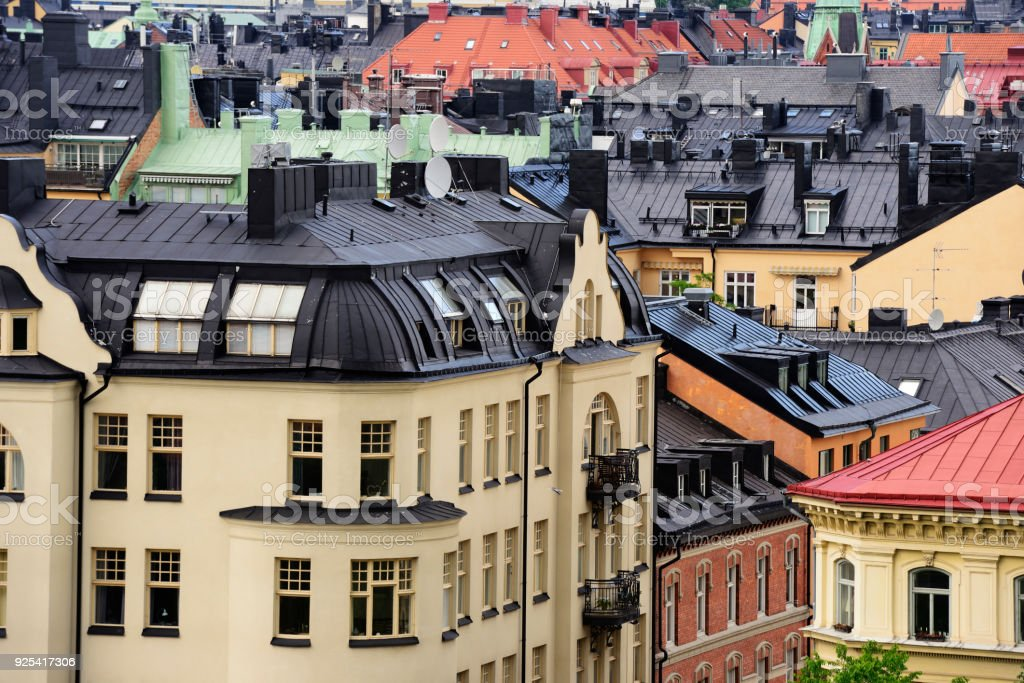 Sweden, view of Stockholm, roofs, attics, windows stock photo