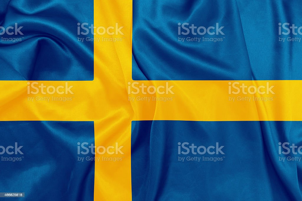 Sweden - Waving national flag on silk texture stock photo