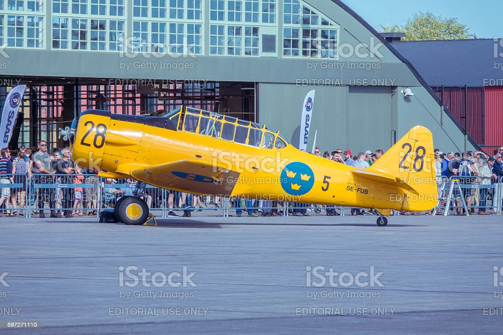 Swedish Air Force 1940s trainer  plane SK 16 royalty-free stock photo