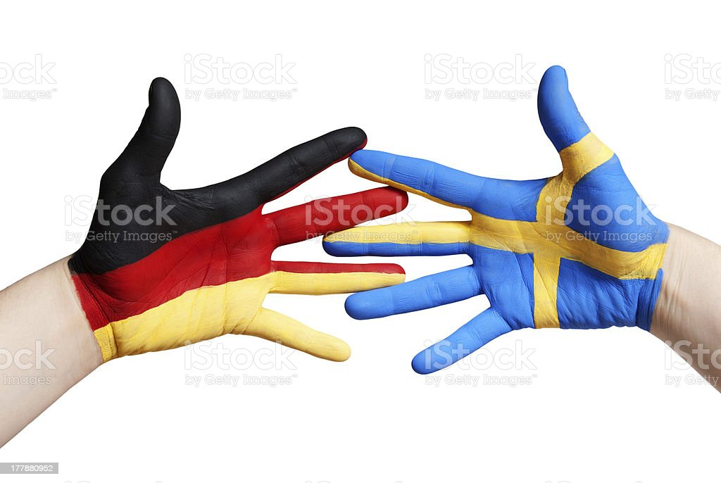 swedish and german hands royalty-free stock photo