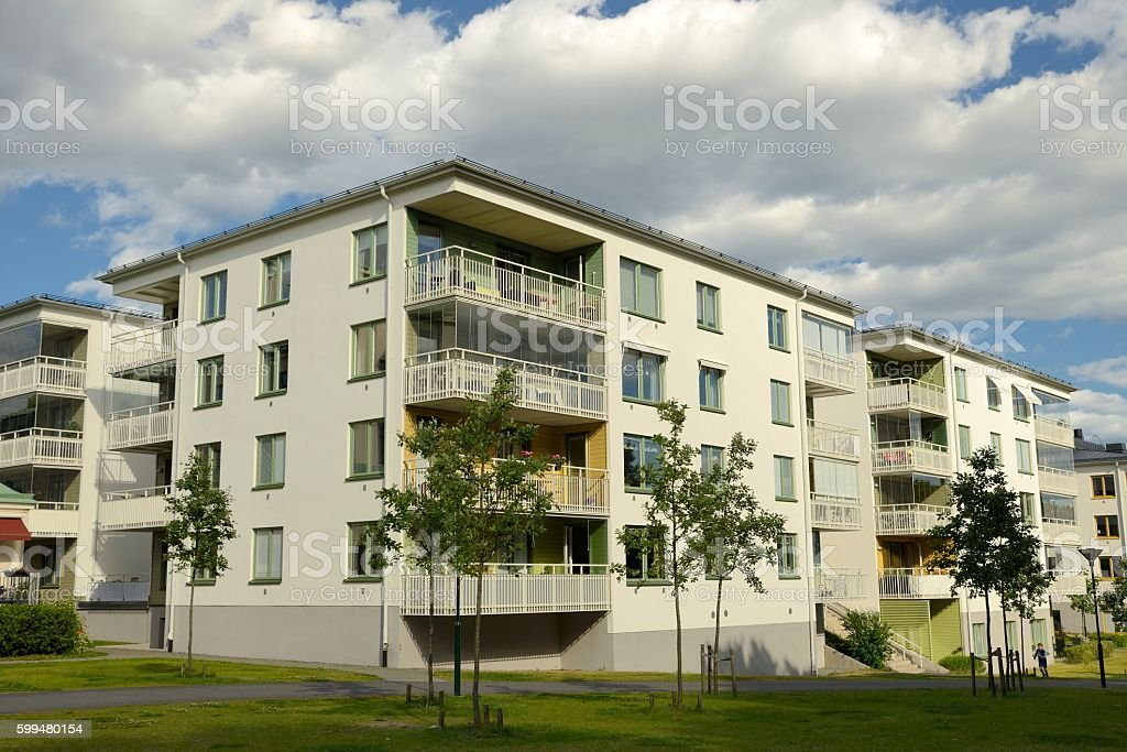 Swedish apartment Block stock photo
