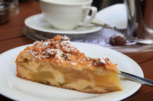 Swedish apple cake on plate