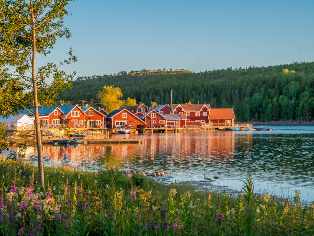 Swedish Archipelago in Norrfallsviken, High Coast area in north part of Sweden in summer. stock photo