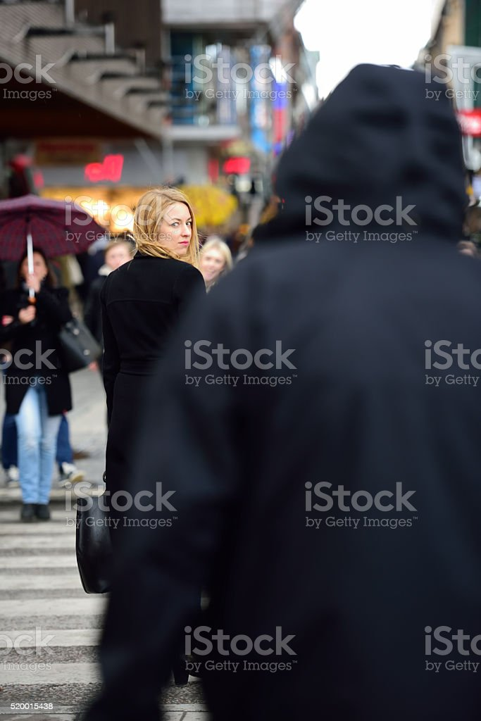 Swedish blonde woman, followed? stock photo
