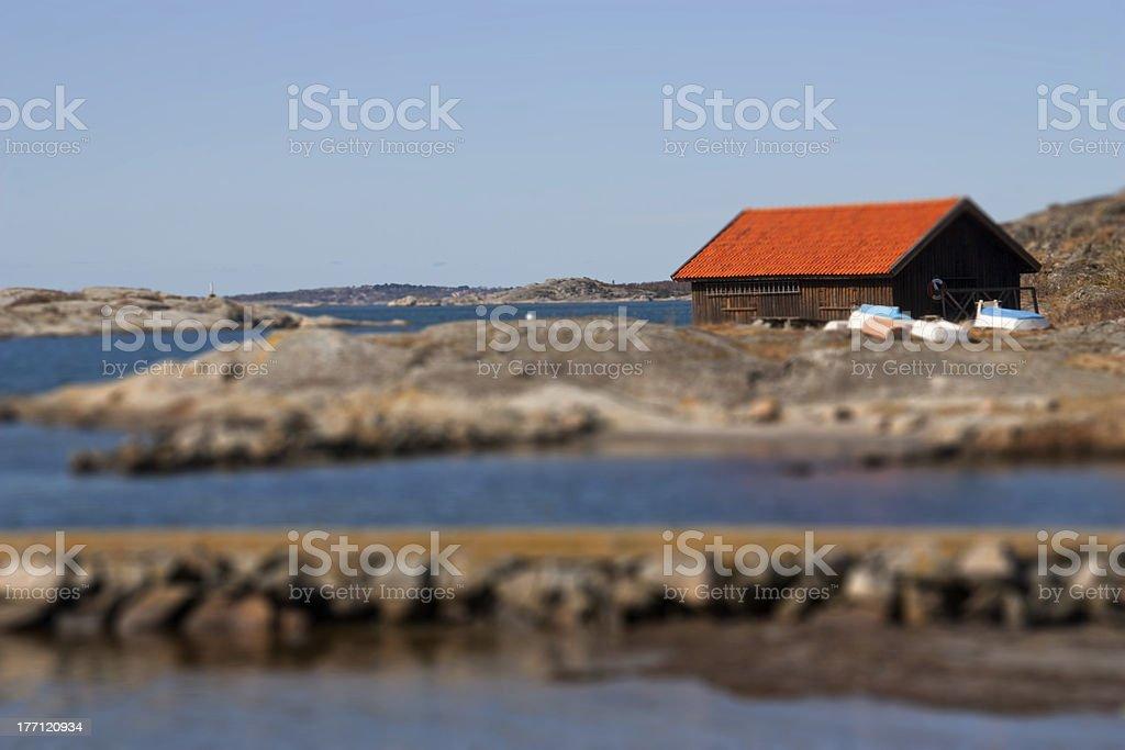 Swedish boathouse royalty-free stock photo