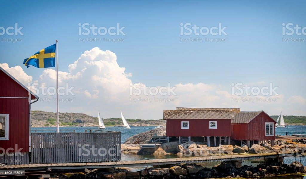 Swedish boathouses stock photo