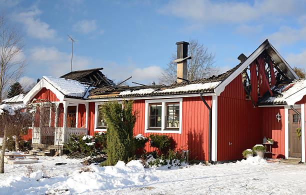Swedish burnt house stock photo