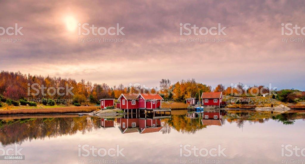 Swedish coast in autumn stock photo