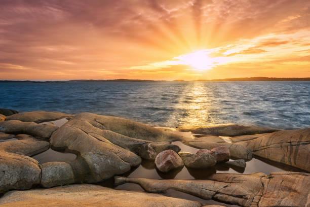 svenska kusten sunset - bohuslän nature bildbanksfoton och bilder