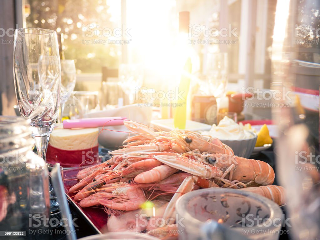 Swedish Crayfish Dinner Table stock photo
