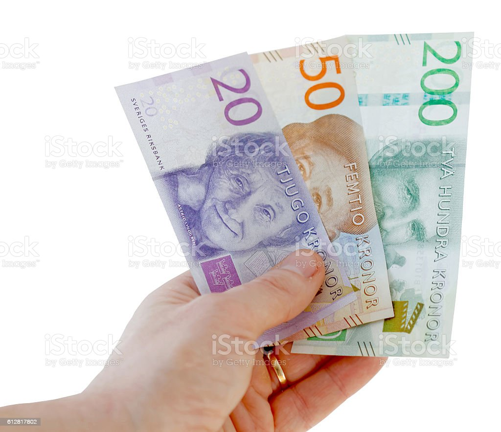 Swedish currency, 20, 50 and 200 SEK, new layout 2015 stock photo