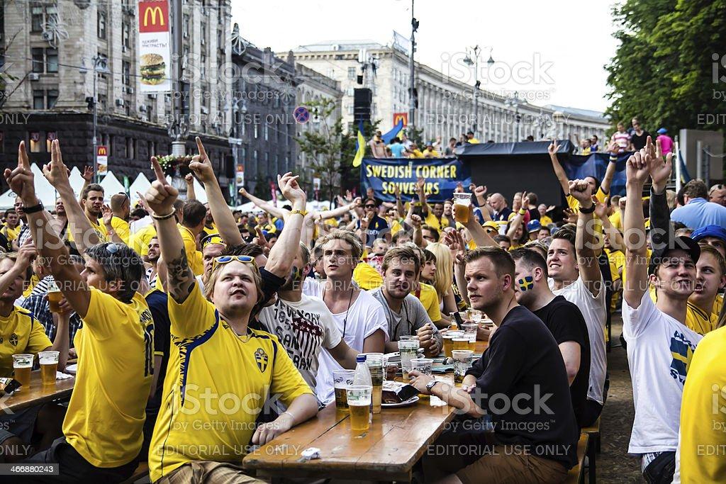 Swedish fans have fun during UEFA Euro 2012 stock photo