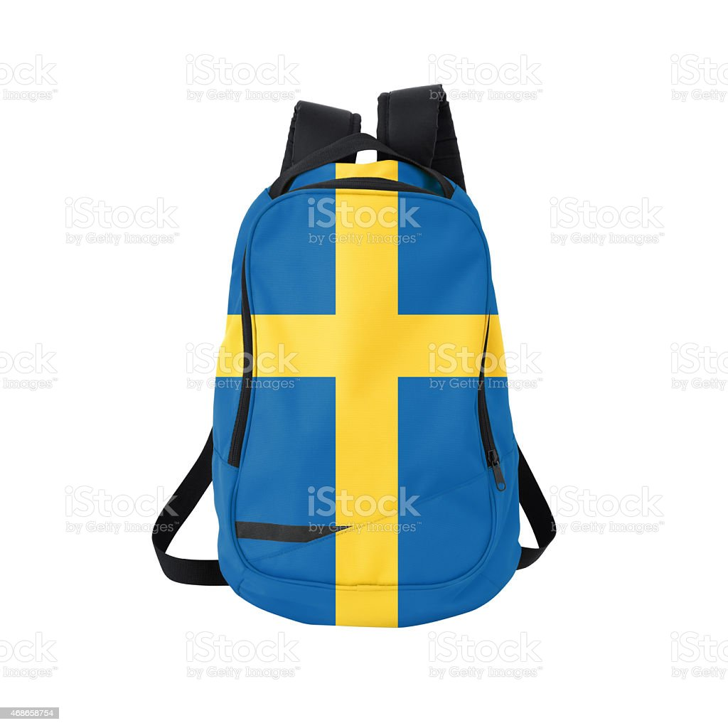 Swedish flag backpack isolated on white w/ path stock photo
