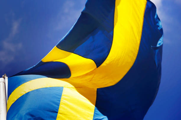 Close-up bandeira sueca - foto de acervo