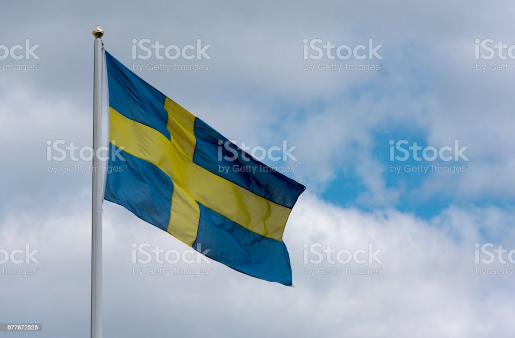 Swedish flag in Stockholm royalty-free stock photo