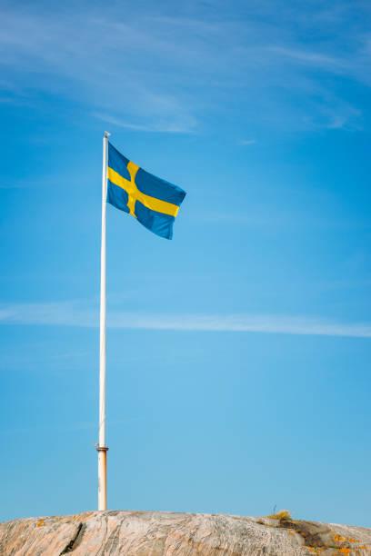 Bandeira sueca na rocha - foto de acervo