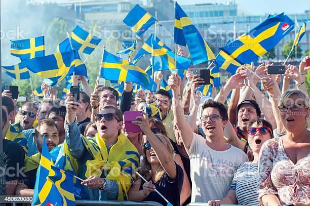 Swedish football fans celebrate the European champions
