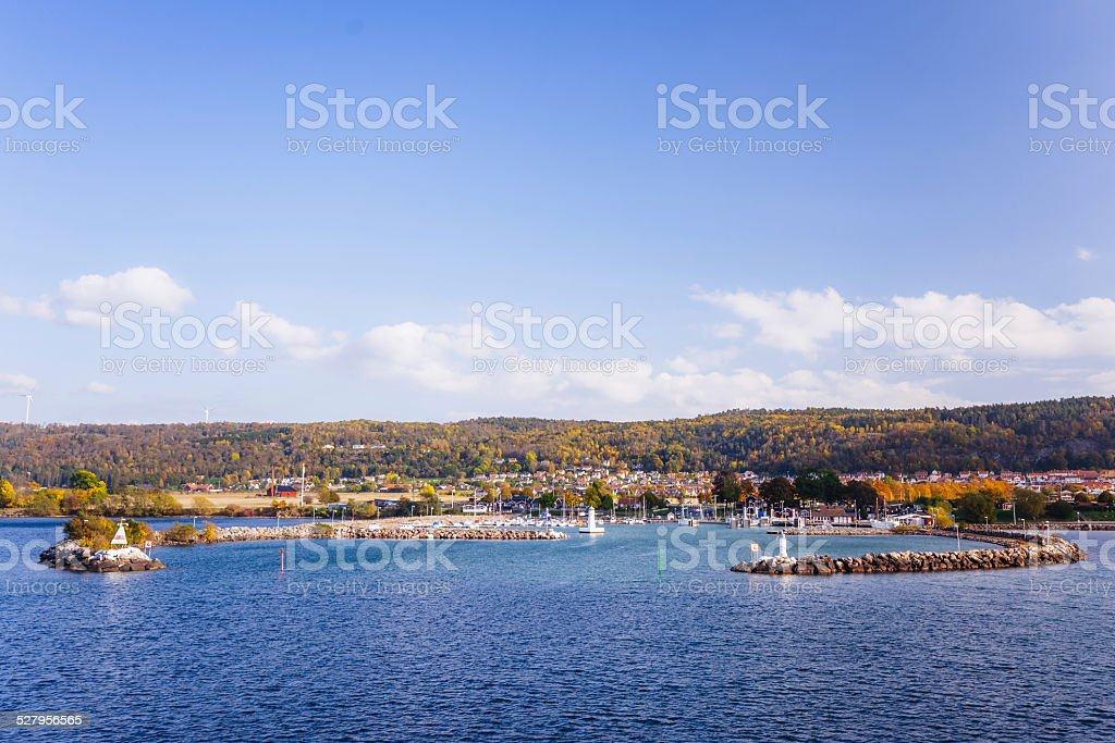 Swedish harbor on the lake Vättern in the fall stock photo