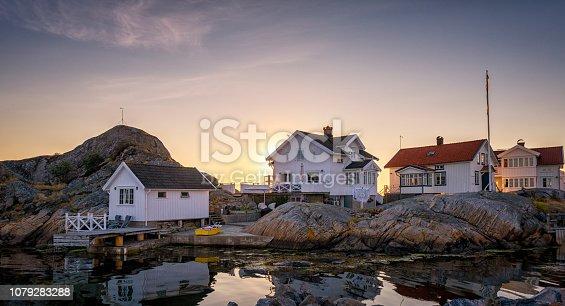 Holiday villas in Swedish archipelago. Bohuslan, Sweden.