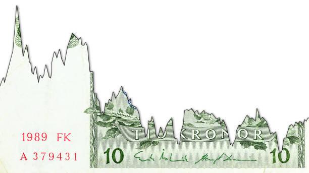 10 schwedische Kronen-Banknote-Rückgang Grafik, der Wechselkurs mit Copyspace anzeigen – Foto