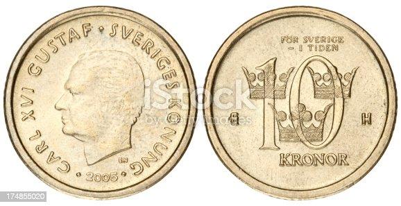 istock Swedish Kronas coin on white background 174855020