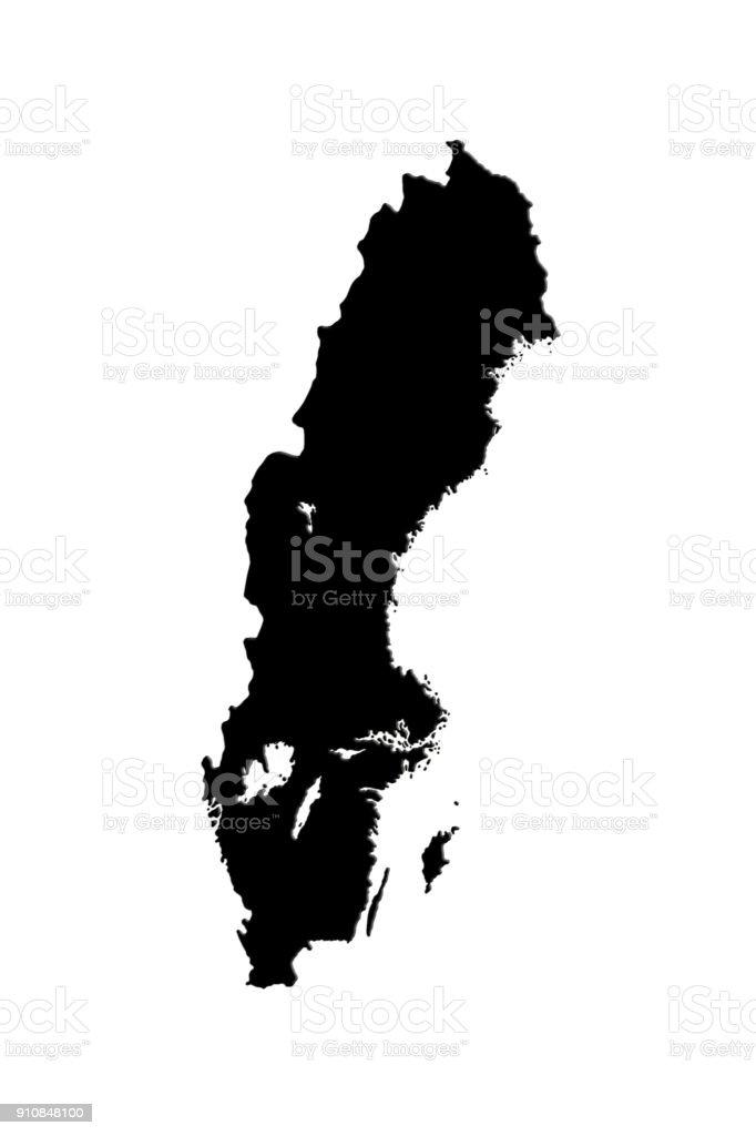 Swedish Map Isolated On White Background 3d Illustration stock photo