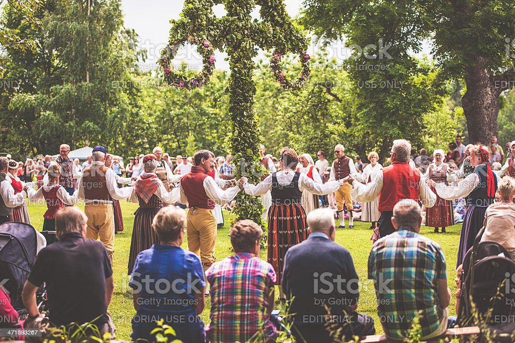 Swedish midsummer celebration stok fotoğrafı