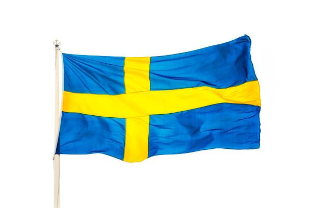 Bandeira nacional sueco Isolado no branco - foto de acervo