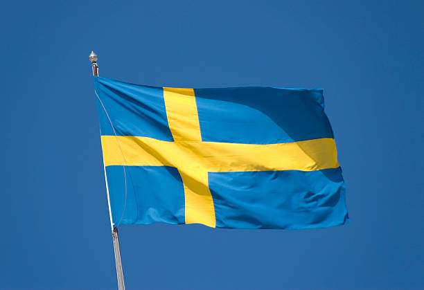 Bandeira nacional sueco - foto de acervo