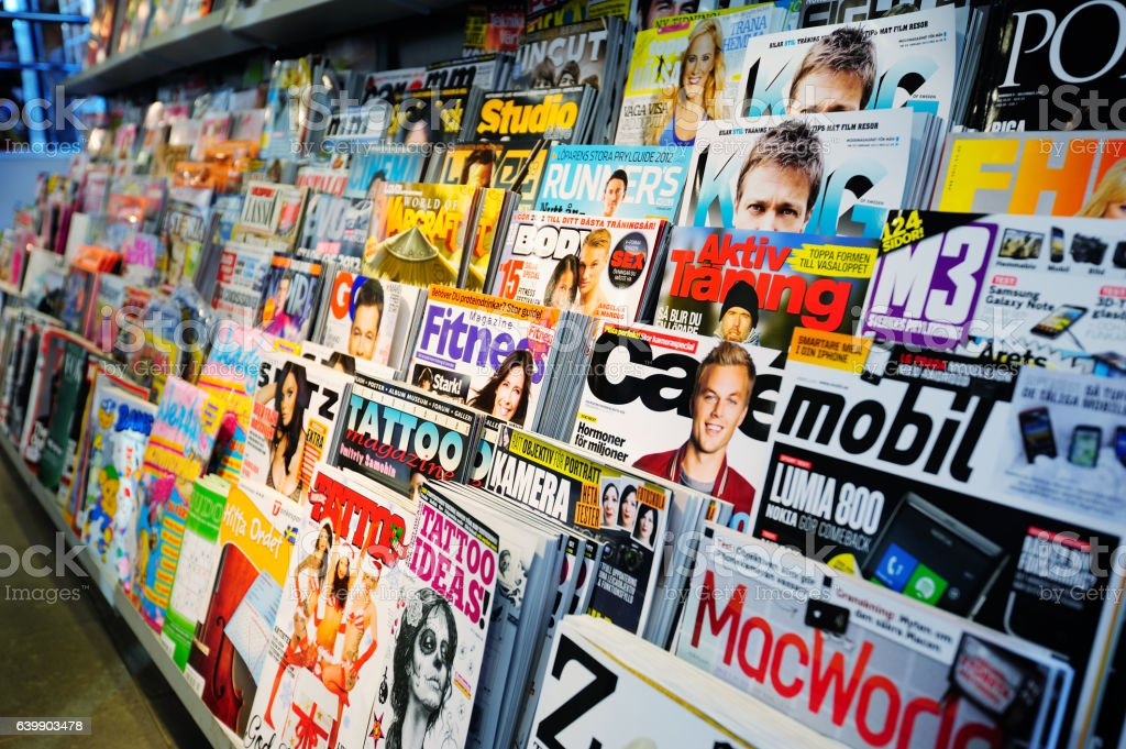 Swedish news stand, mixed magazines – Foto
