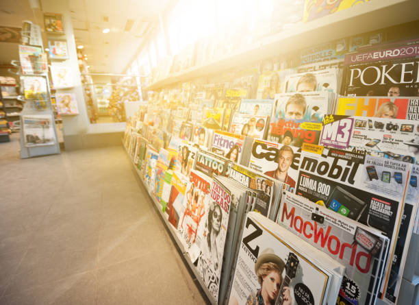 Swedish news stand, mixed magazines News stand. Mixed magazines and papers. news stand stock pictures, royalty-free photos & images