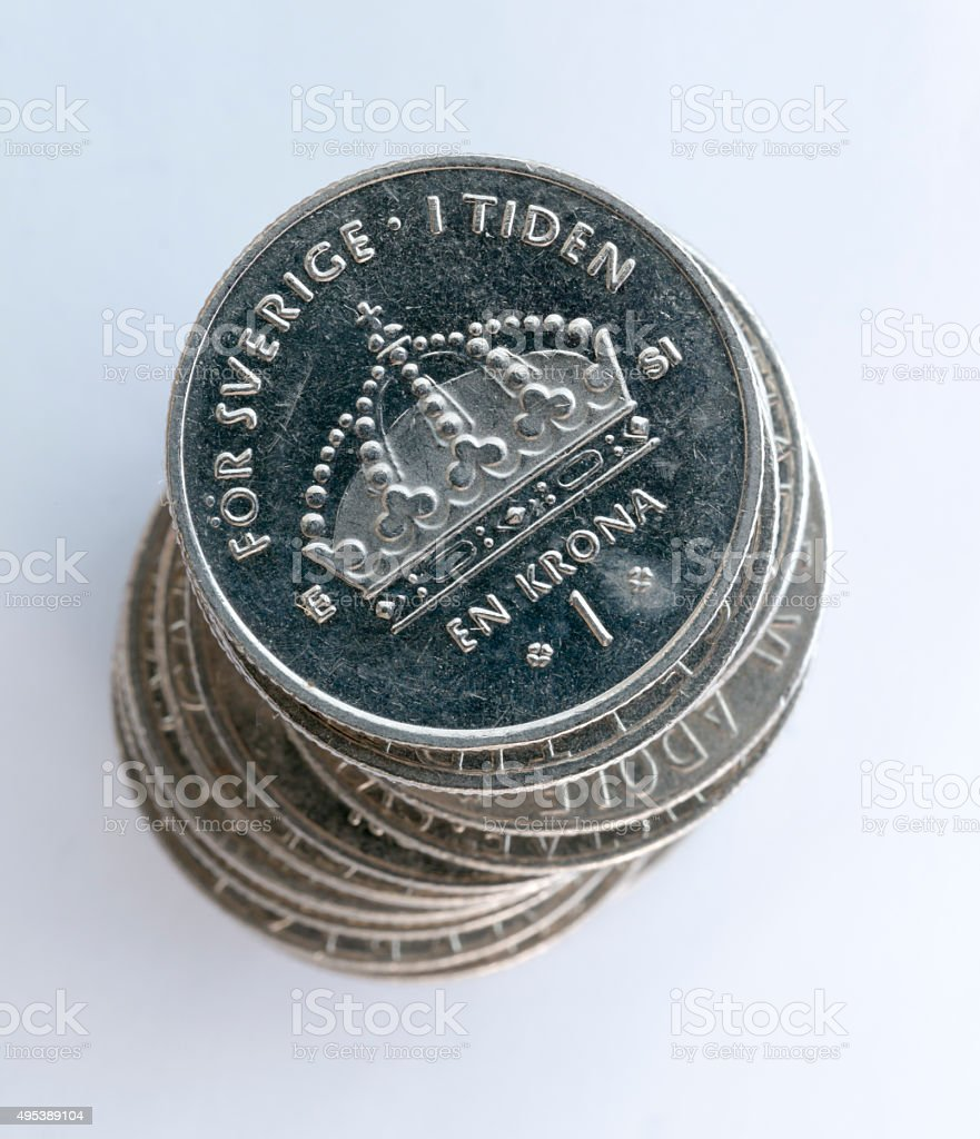 Swedish One Coins Stacked stock photo