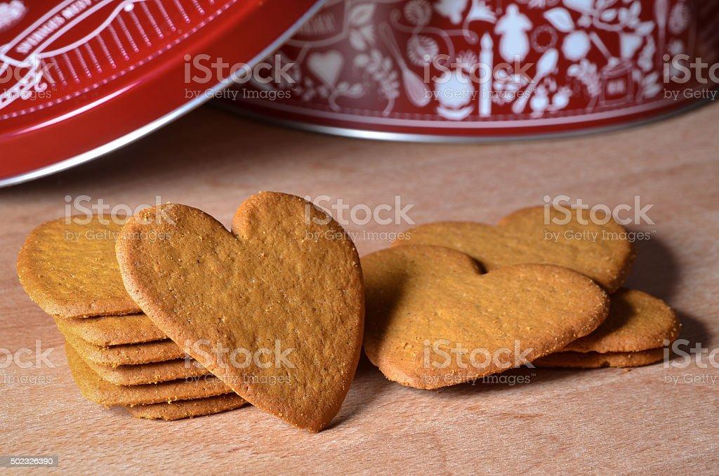 swedish pepparkakor heart shaped cinnamon cookies stock photo